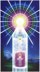 """La figura inferior representa el cuerpo carnal o humano. La figura superior representa la Presencia individualizada de Dios, que ES EL CUERPO ELECTRÓNICO DE LA PODEROSA PRESENCIA """"YO SOY"""" (Dios en ti)"""
